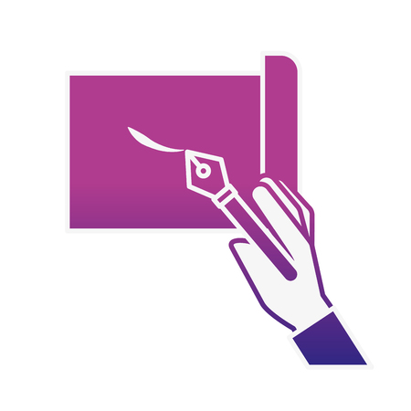 hand holding fountain pen drawn on sheet vector illustration neon