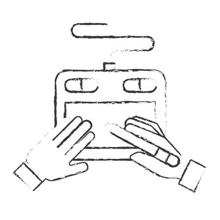 graphic designer hands with tablet digital pen vector illustration hand drawing Ilustração