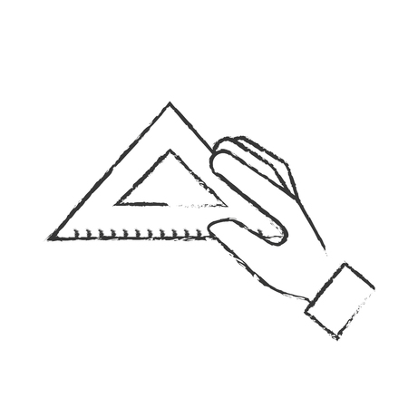 hand holding triangle ruler supply vector illustration hand drawing