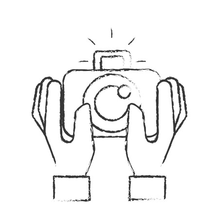 hands holding photographic camera gadget vector illustration hand drawing