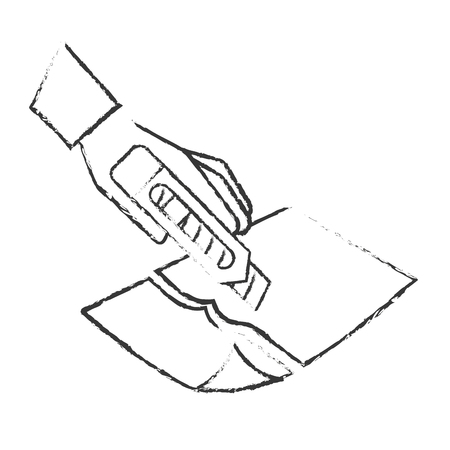 hand with the tool cutting a paper vector illustration hand drawing