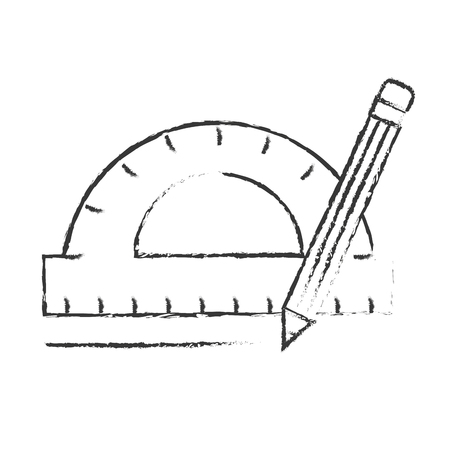 protractor pencil graphic design tools vector illustration hand drawing