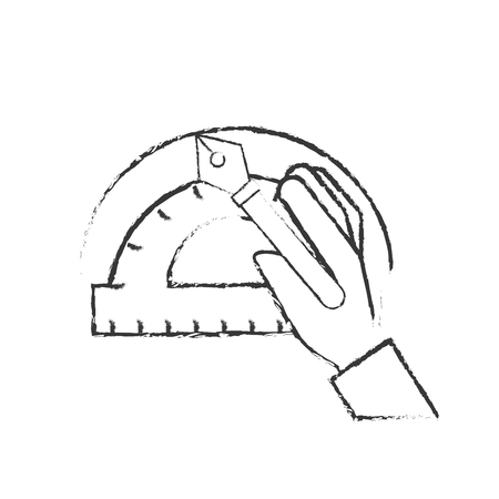 hand with fountain pen protractor graphic design vector illustration hand drawing Illustration