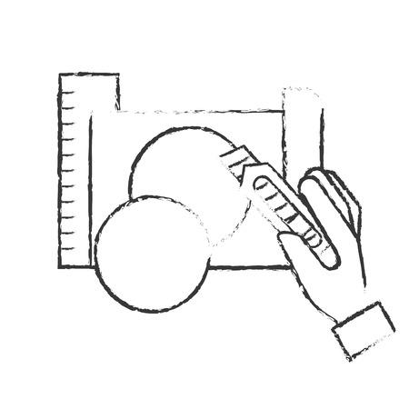 Mano sujetando el cortador haciendo un círculo con papel ilustración vectorial dibujo a mano