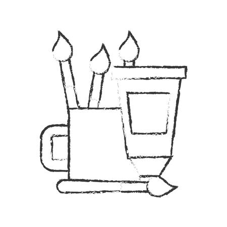artistic color tube brushes supplies vector illustration hand drawing Ilustração