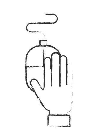 hand holding mouse device equipment vector illustration hand drawing