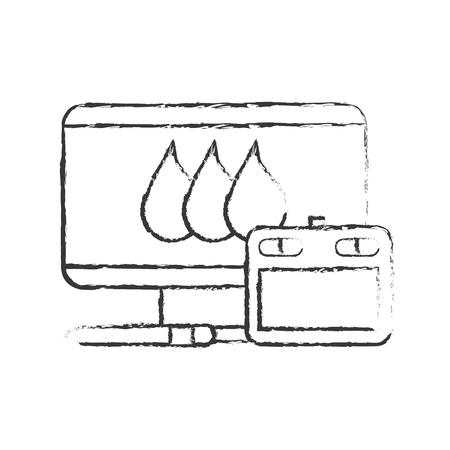 graphic design tablet computer and digital pen vector illustration hand drawing Illustration