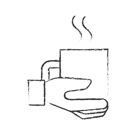 hand holding coffee cup hot beverage vector illustration hand drawing