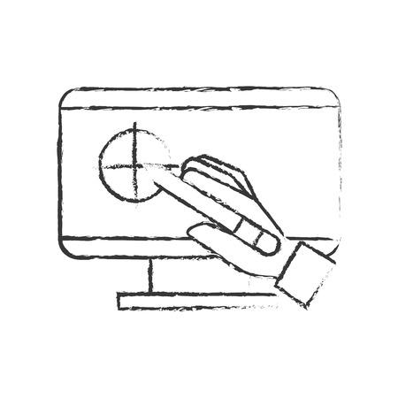 hand holding digital pen computer graphic design vector illustration hand drawing
