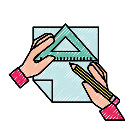 graphic designer hands with pencil ruler triangle and paper vector illustration