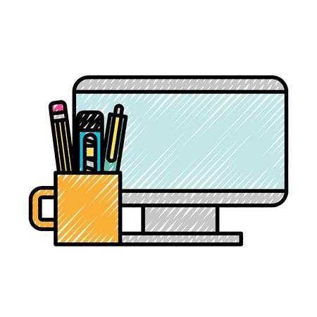 computer and supplies pencil pen cutter vector illustration