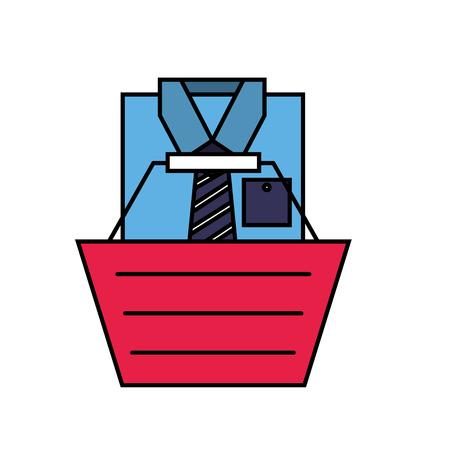 online shopping basket male shirt clothes vector illustration