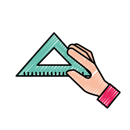 hand holding triangle ruler supply vector illustration Illustration