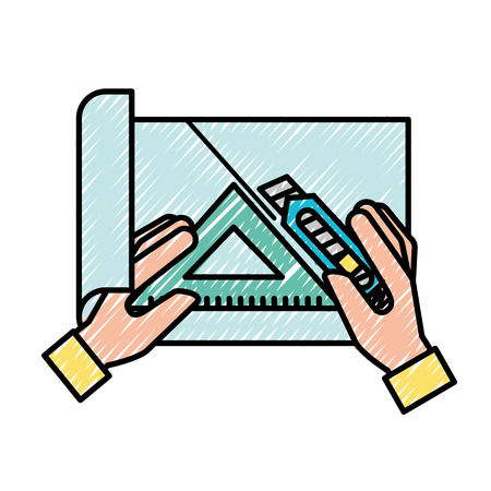 hands with cutter and triangle ruler cut paper vector illustration Çizim