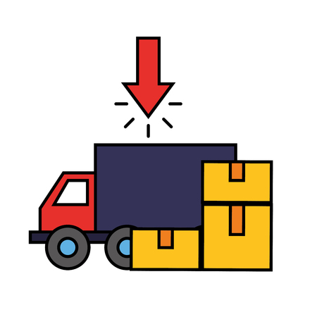 delivery truck cardboard boxes click online shopping vector illustration