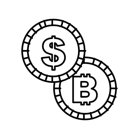 coins money dollar bitcoin isolated image vector illustration outline