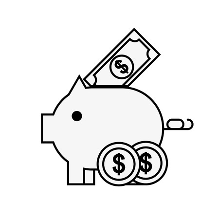 piggy bank banknote and coins online shopping vector illustration outline