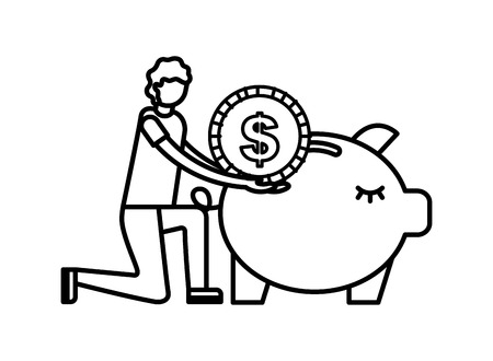 man pushing coin in piggy bank vector illustration outline
