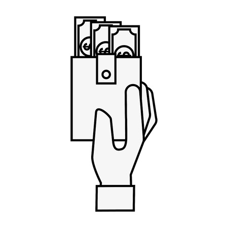hand holding wallet banknote money online shopping vector illustration outline