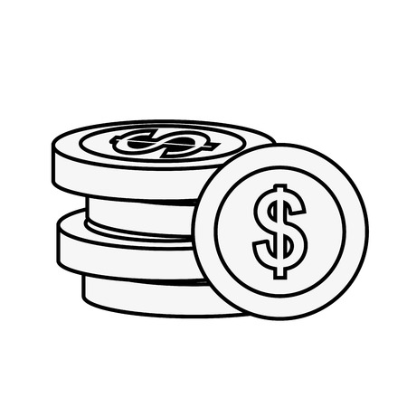 stacked coins dollar money currency vector illustration outline