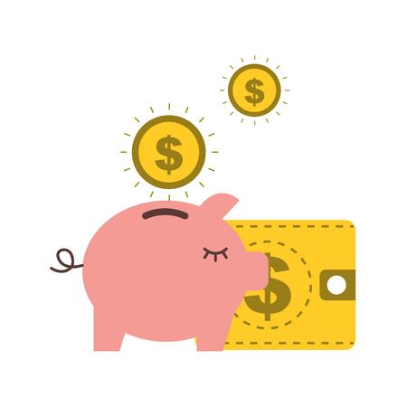 piggy bank dollar coins wallet business vector illustration
