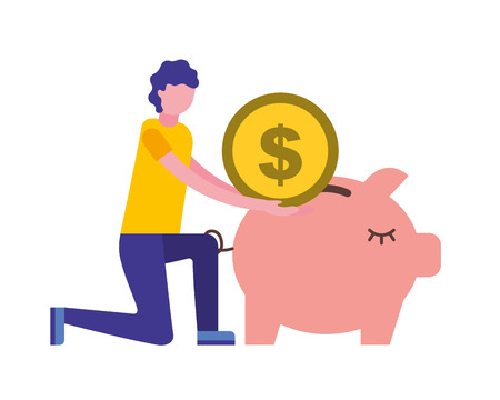 man pushing coin in piggy bank vector illustration 일러스트