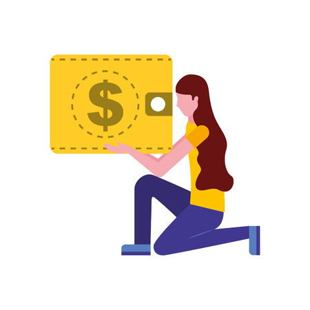 woman on the knee with wallet money vector illustration