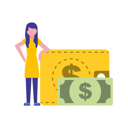 woman with wallet money banknote vector illustration Illustration
