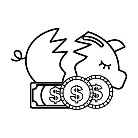 broken piggy bank coins banknotes money crisis vector illustration outline Illustration
