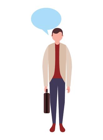 businessman standing character speech bubble vector illustration