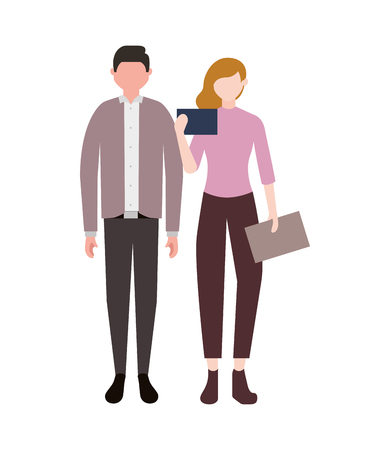businessman and woman standing teamwork vector illustration Archivio Fotografico - 109371614