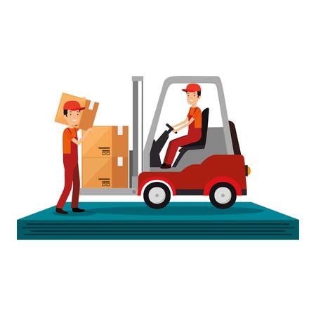 livreurs conduisant un chariot élévateur avec des boîtes vector illustration design
