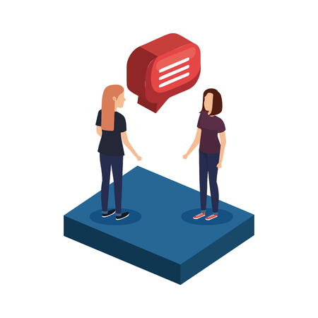 young women with speech bubble vector illustration design Illustration