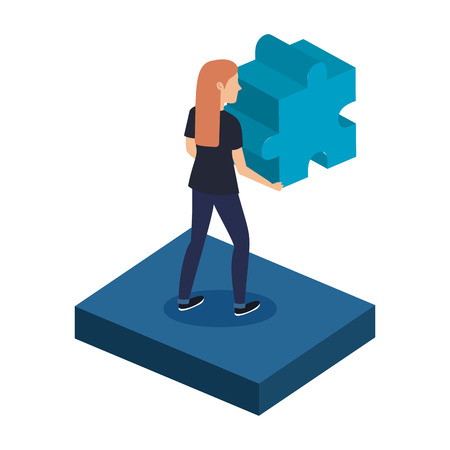 young woman with puzzle piece vector illustration design