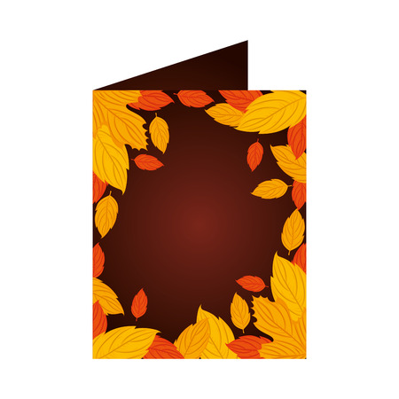 postcard with autumn leafs seasonal pattern vector illustration design