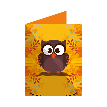 cute owl bird in postcard vector illustration design Stock Illustratie