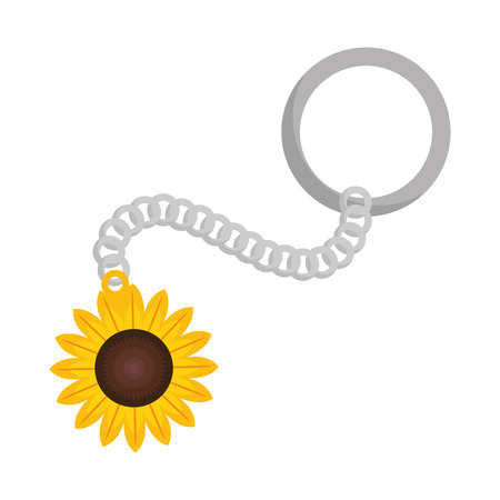 key chain with beautiful sunflower vector illustration design