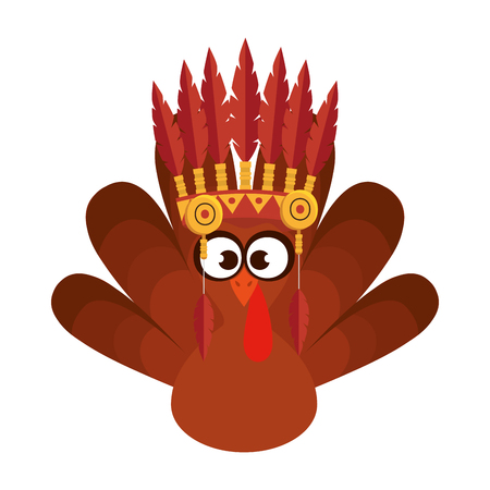 turkey with indigenus feathers crown vector illustration design