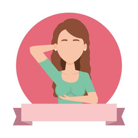 woman doing self examination with ribbon vector illustration