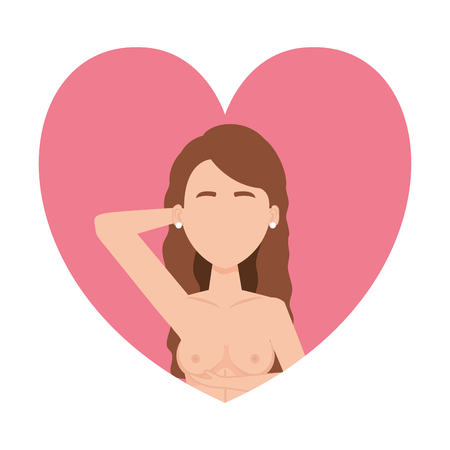 woman with self exam vector illustration design