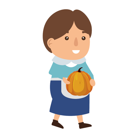 pilgrim woman with pumpkin vector illustration design