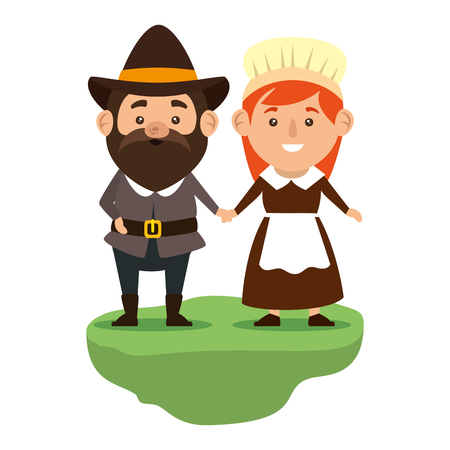 pilgrims couple characters icon vector illustration design Illusztráció
