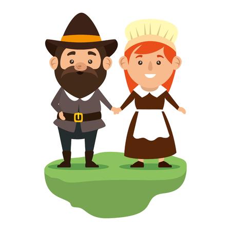 pilgrims couple characters icon vector illustration design Illustration