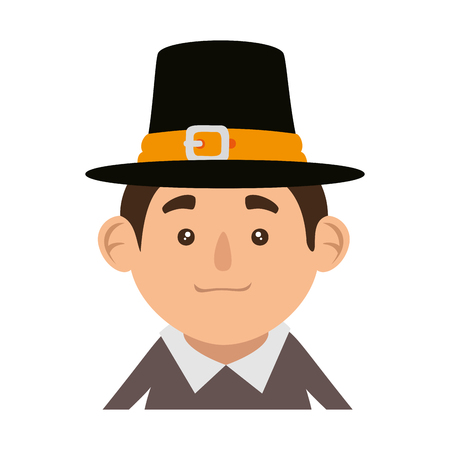pilgrim man character icon vector illustration design