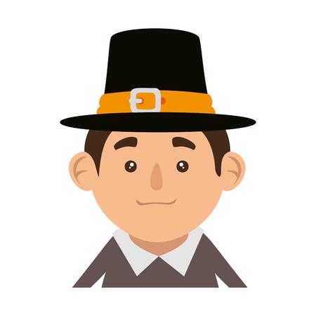 pilgrim man character icon vector illustration design Stock fotó - 109400574