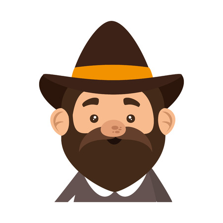 pilgrim man character icon vector illustration design Stock fotó - 109400575