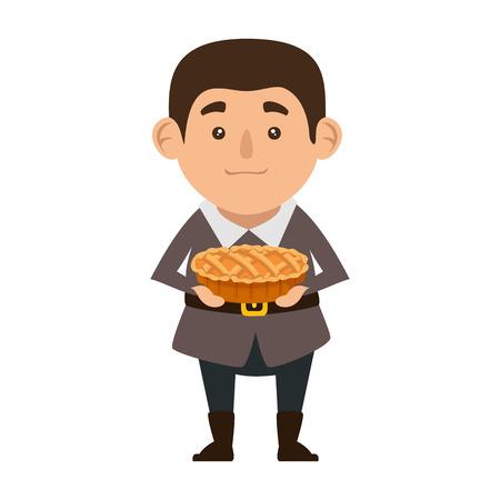 pilgrim man with delicious pie vector illustration design