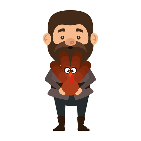 pilgrim man with turkey character vector illustration design Illusztráció