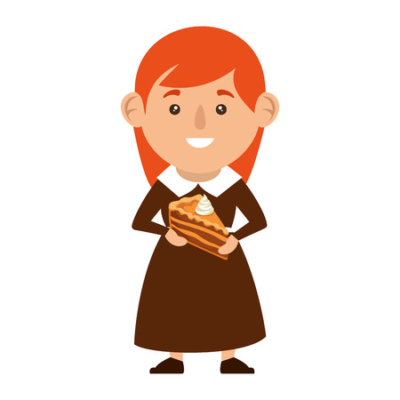 pilgrim woman with delicious pie vector illustration design
