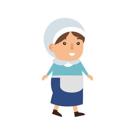 pilgrim woman character icon vector illustration design 向量圖像